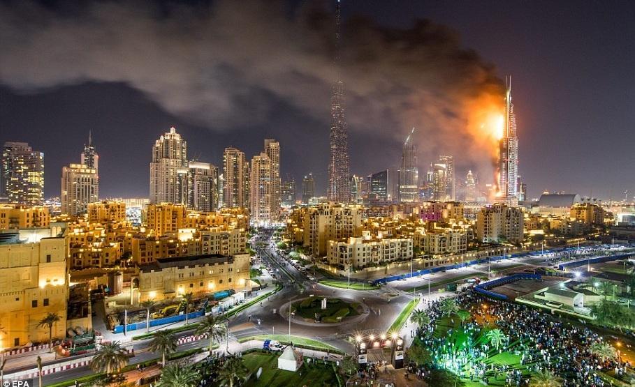 آتش سوزی هتل دبی در شب سال نو