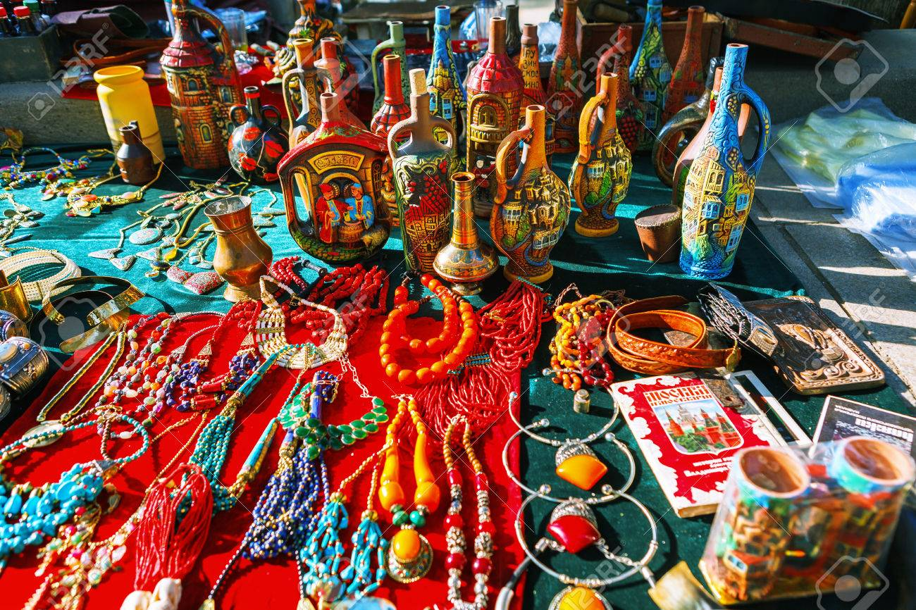 Tbilisi, Georgia - 08 October, 2016: Dry Bridge Flea market in Tbilisi sells Jewelry, Soviet, retro junk stuff, tableware set, dishes, souvenir georgian Clay jugs. Most famous flea market in Georgia.