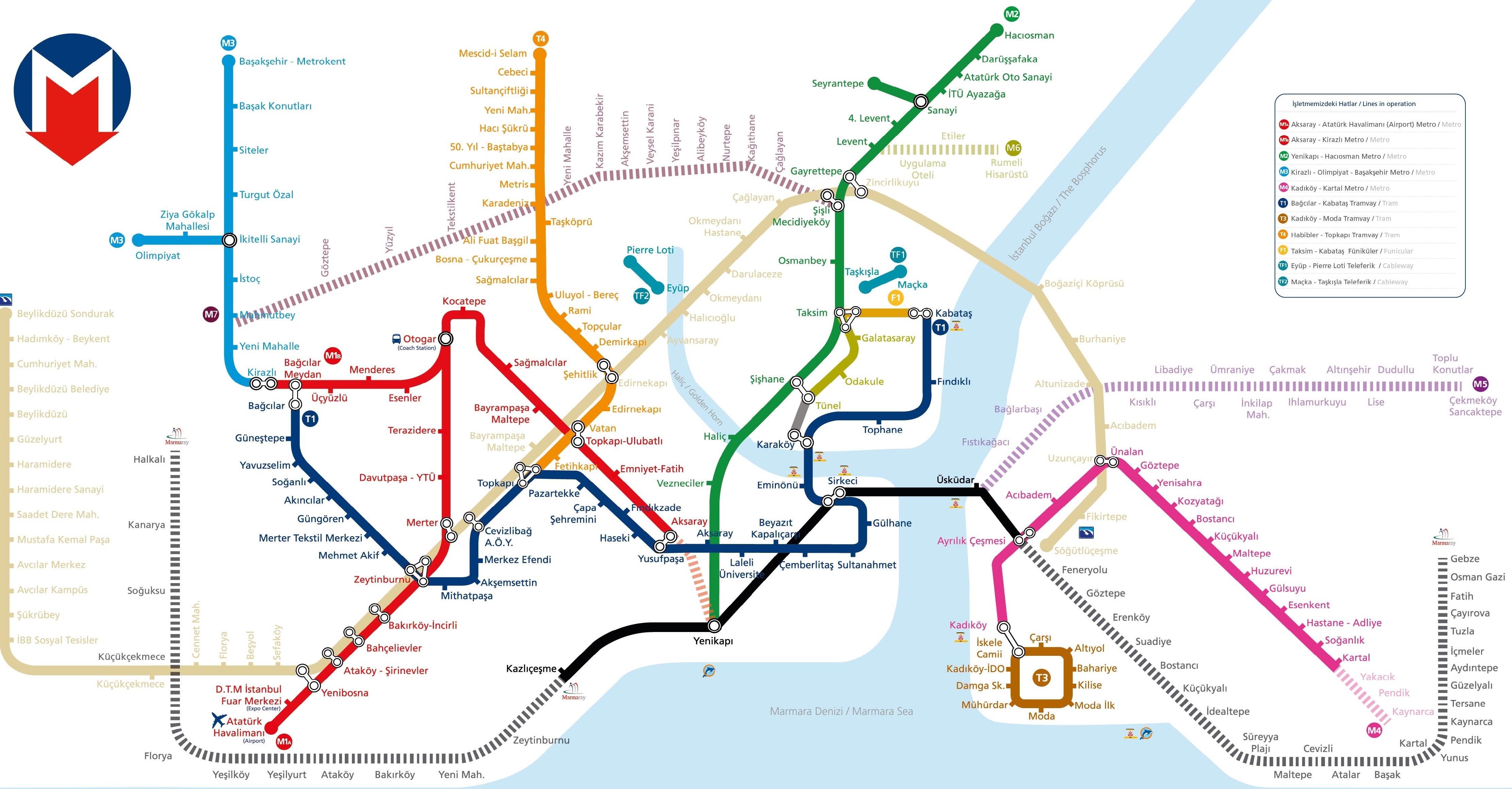 نقشه متروی استانبول